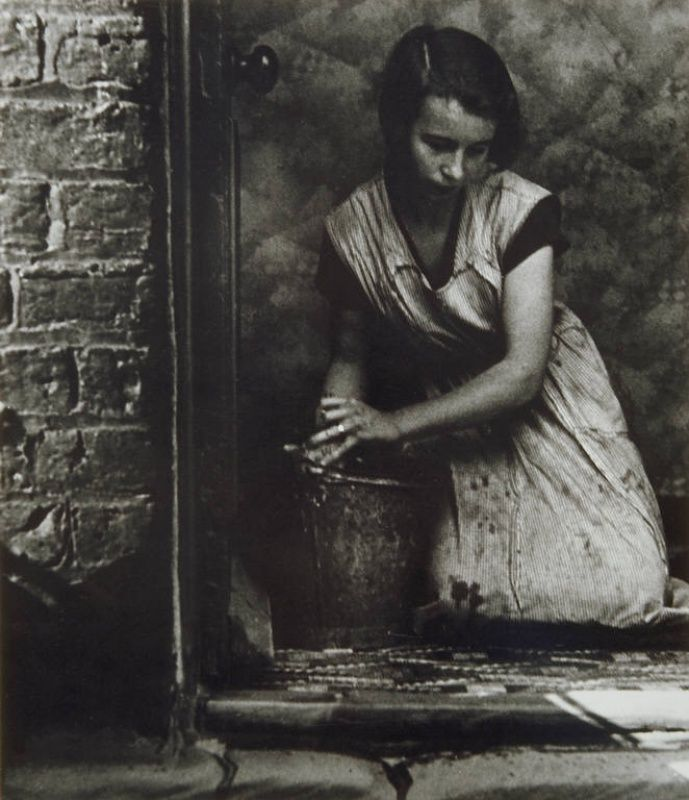 Bill Brandt  When I read my grandmother's diary, she  almost always ended the day by scrubbing her kitchen floors