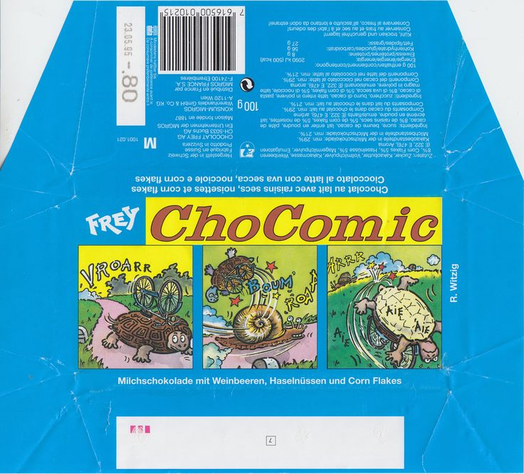 ChoComic Milchschokolade mit Weinbeeren, Haselnüssen und Corn Flakes 1994