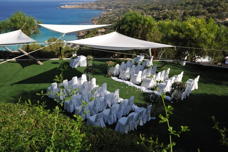 Under £3,000 for 20 people. This wedding takes place in a resort with spectacular views of Cape Greco, near Protaras. Your wedding takes place on a grassy terrace with panoramic views of the sea, followed by a reception in the gardens. You can also opt for a cocktail reception in the chill our area or why not wow your guests with a sunset cruise champagne cruise around Cape Greco?