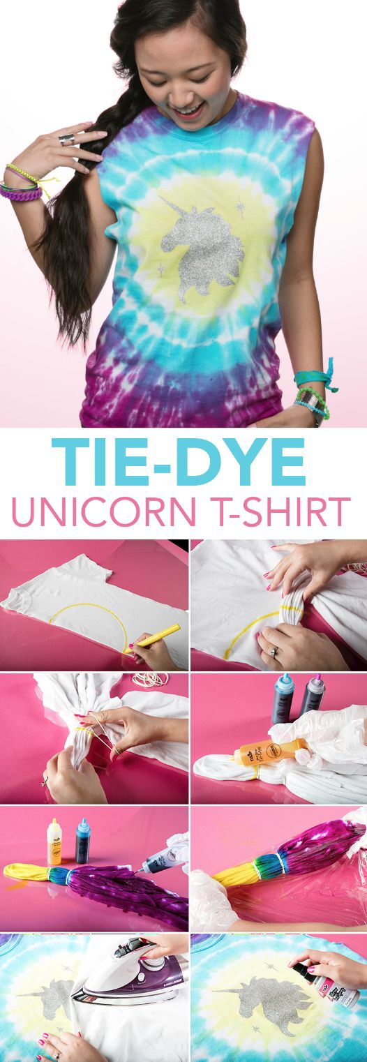 Take off on a whimsical adventure with the Unicorn Sparkle One-Step Tie-Dye Kit! Stocked with 5 bottles of fairytale-friendly One-Step Dye, 2 pairs of gloves, 20 rubber bands, 1 sheet of unicorn-themed glitter iron-on designs and an inspiration guide, this kit is ready to make your tie-dye experience magical. Who knew tie-dyeing could be this easy?