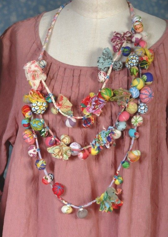 Fabric bead necklace, pinning for inspiration for using up the scraps: nadir clothing - Google Search