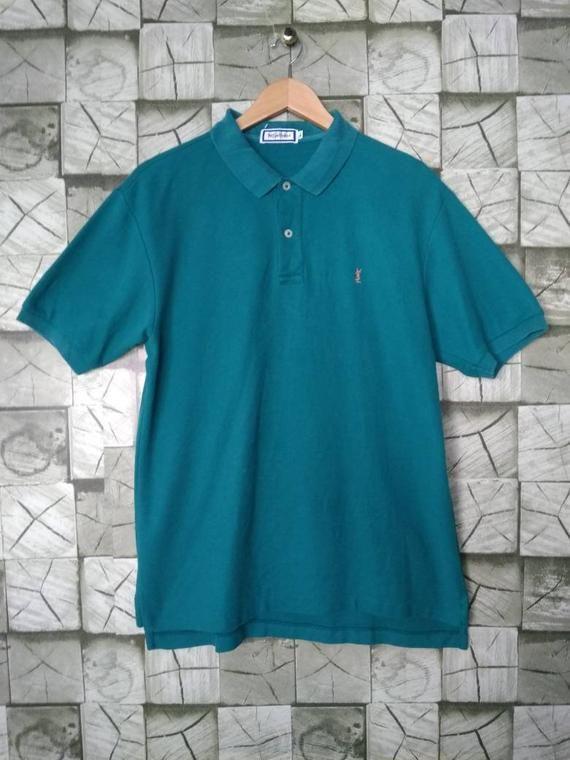 2798d429b4a Yves Saint Laurent Short Sleeve Collar Shirt Vintage 90s Yves Saint Laurent  Polo Shirt Top Tee YSL Embroidery Small Logo Size L Large | YSL Yves Saint  ...