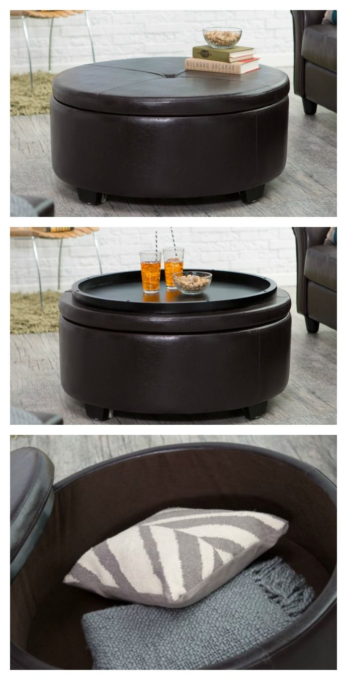 Designed for the modern home, this handsome ottoman features luxurious  craftsmanship and convenient, discrete storage. Upholstered in fine, bonded  leather ... - 25+ Best Ideas About Round Storage Ottoman On Pinterest Ottoman