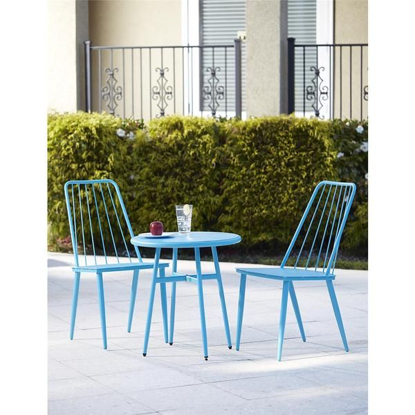 Avenue Greene 3 Piece Blue Outdoor Bistro Steel Patio Furniture Set