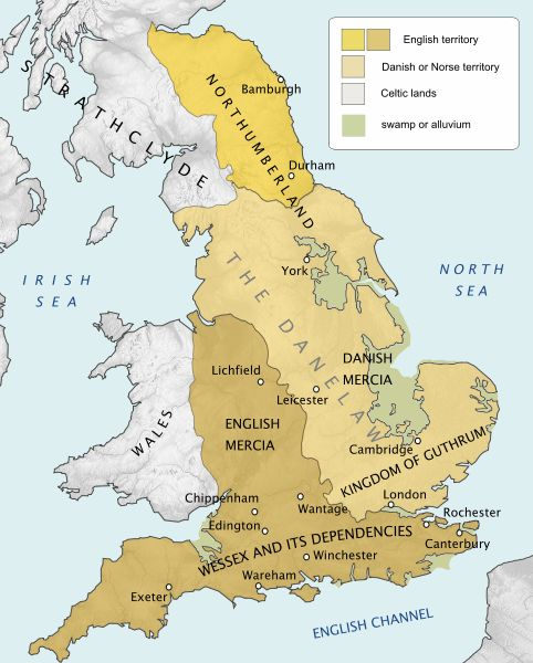 "The Danelaw, as recorded in the Anglo-Saxon Chronicle (also known as the Danelagh; Old English: Dena lagu; Danish: Danelagen), is a historical name given to the part of England in which the laws of the ""Danes"" held sway[1] and dominated those of the Anglo-Saxons. It is contrasted with ""West Saxon law"" and ""Mercian law"". The term has been extended by modern historians to be geographical. The areas that comprised the Danelaw are in northern and eastern England."