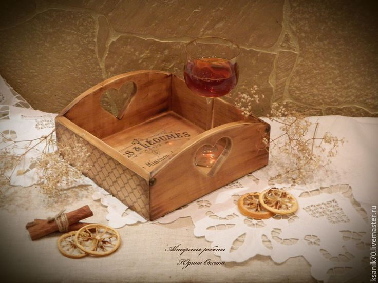 "Поднос, сухарница ""Французское кафе"".Ручная работа/ handmade wooden mini- tray"
