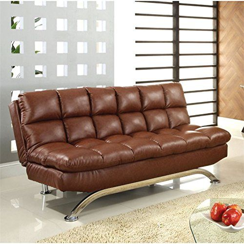 Furniture of America Moore Faux Leather Sofa Bed in Reddish Brown