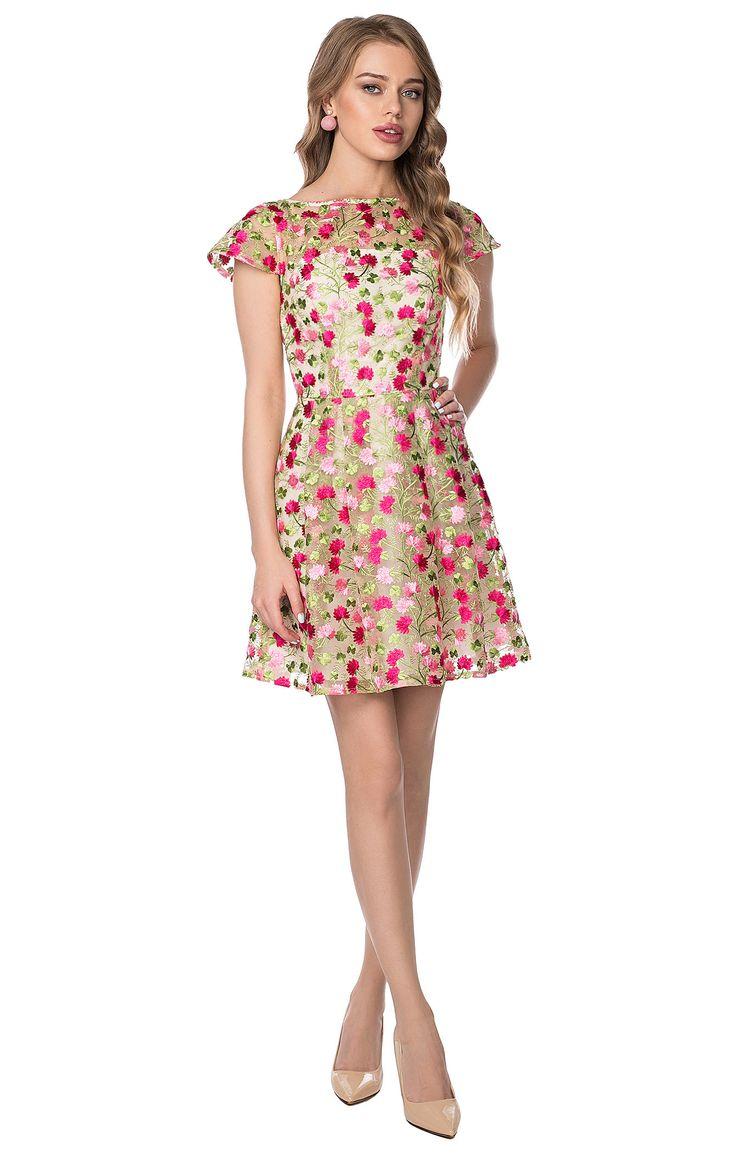 Двухслойное платье из органзы с фактурной вышивкой FORS 2000000134024, купить за 13230 руб в интернет-магазине TopTop.ru
