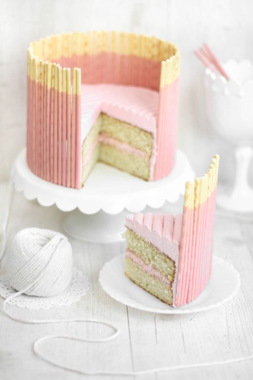 Sprinkle Bakes: Pink Vanilla Pocky Cake--this is awesome!!