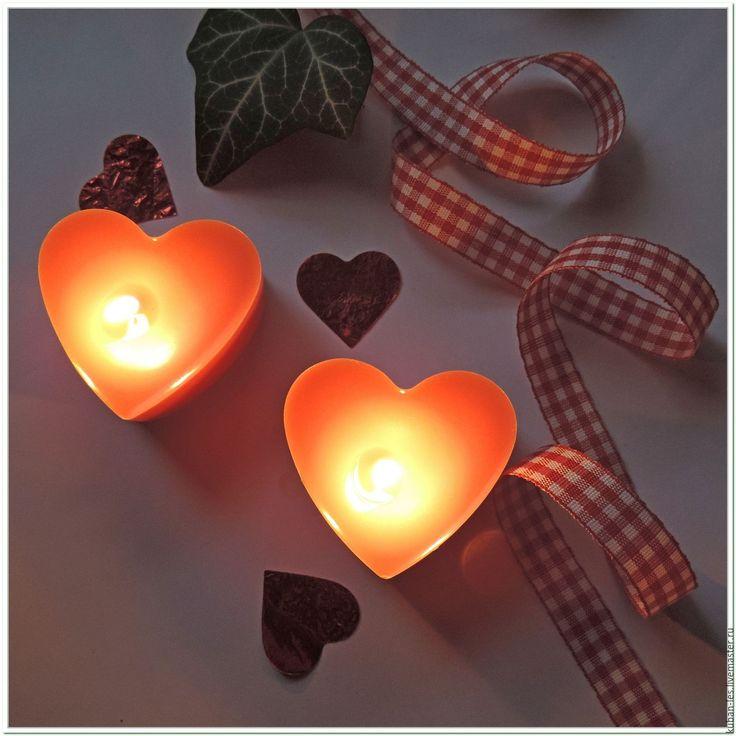 Купить Набор натуральных ароматических свечей Сердце - соевые свечи - соевая свеча, Соевый воск