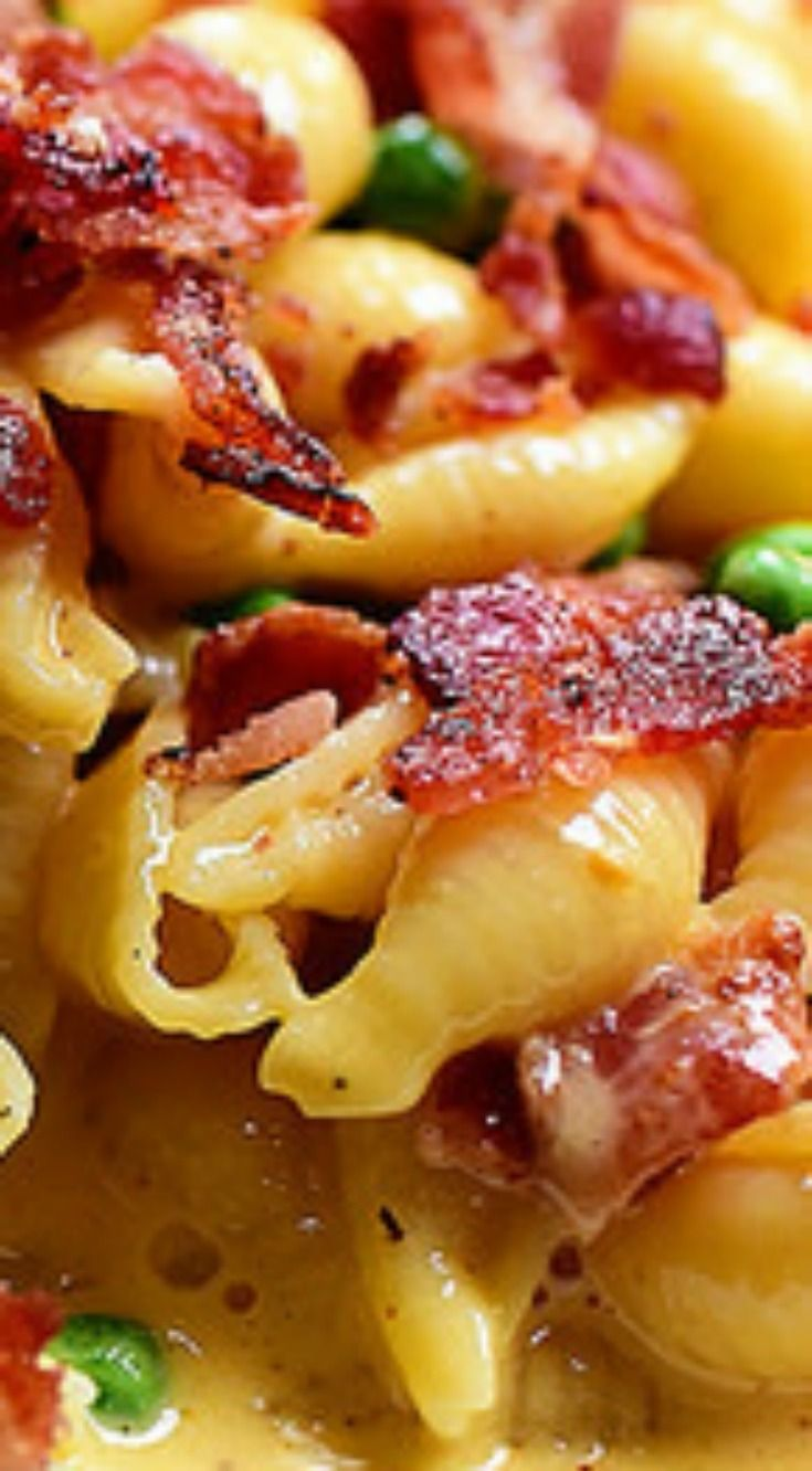 Shells & Cheese (with Bacon & Peas) ~ Ultra-simple, kid-friendly recipe is absolutely scrumptious and so darn easy to make.