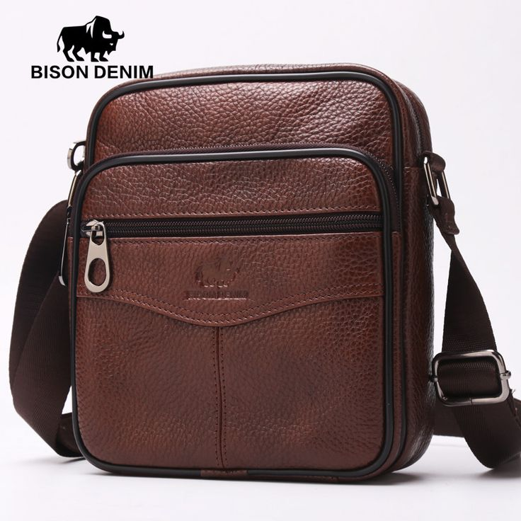 BISON DENIM soft genuine leather mens small messenger bag cowboy style shoulder bag