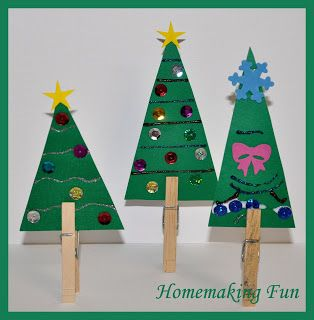 "Christmas trees - cardboard, sequins & pegs ("",)"