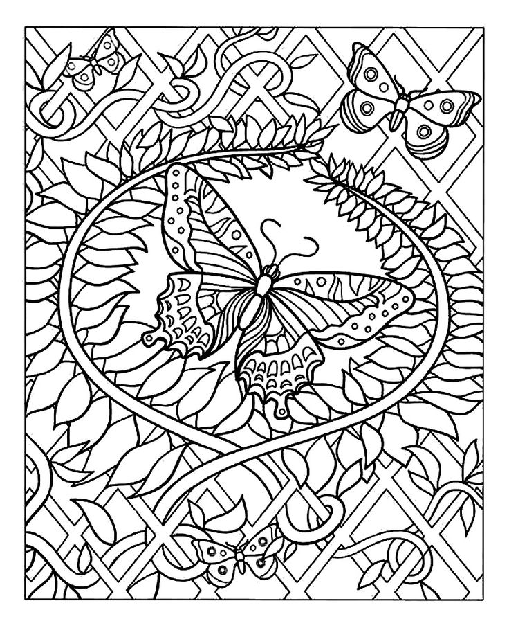Free Coloring Page Difficult Butterfly Adult Of A Beautiful Decorated With Many Eye Pleasing Plant Patterns