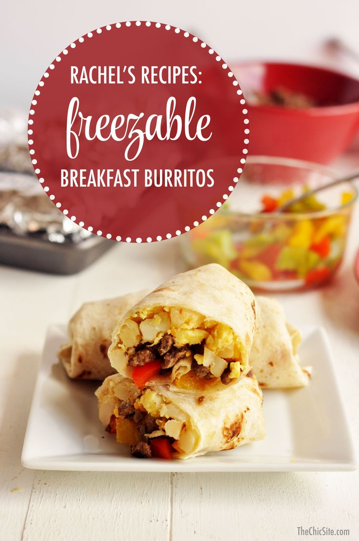 Make-Ahead, Freezer Breakfast Burritos. Made with eggs, frozen hash browns, breakfast sausage, bell peppers, and cheese.