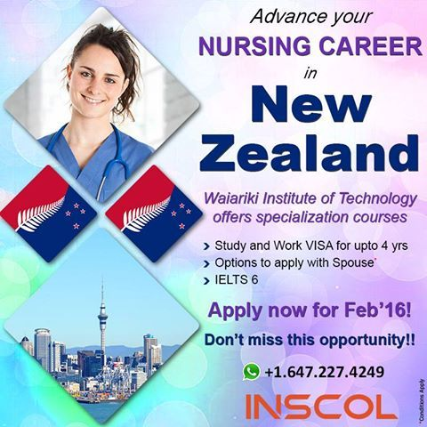Great Opportunity for #Nurses to Study & Work in #NewZealand! Apply now for Feb'16 intake.