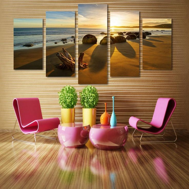 living room art prints%0A   piece Canvas Art Print  Beach on the Ocean with Rocks at Sunset