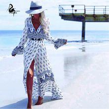 Летний стиль высокая сплит женщины платье 2016 богема пляж платье полный рукавом v-образным вырезом распечатать свободные макси длинные платья, одежда для пляжа