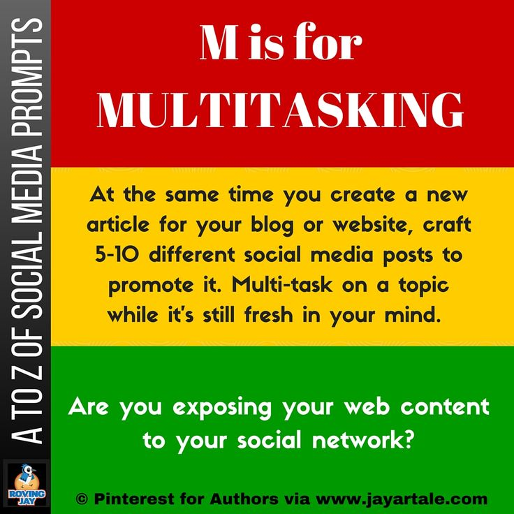 A to Z of Social Media Prompts: M is for Multitasking. At the same time you create a new blog post article for your website, craft social media content to promote it. Pinterest for Authors Monthly Giveaway by Jay Artale www.jayartale.com