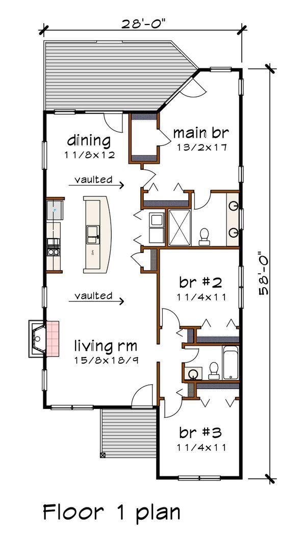Modern Style House Plan 3 Beds 2 Baths 1350 Sq Ft Plan 79 292 Modern Style House Plans New House Plans 2bhk House Plan