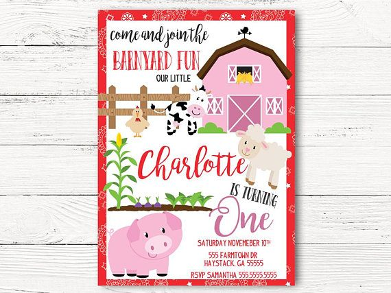 barnyard birthday invitation farm theme
