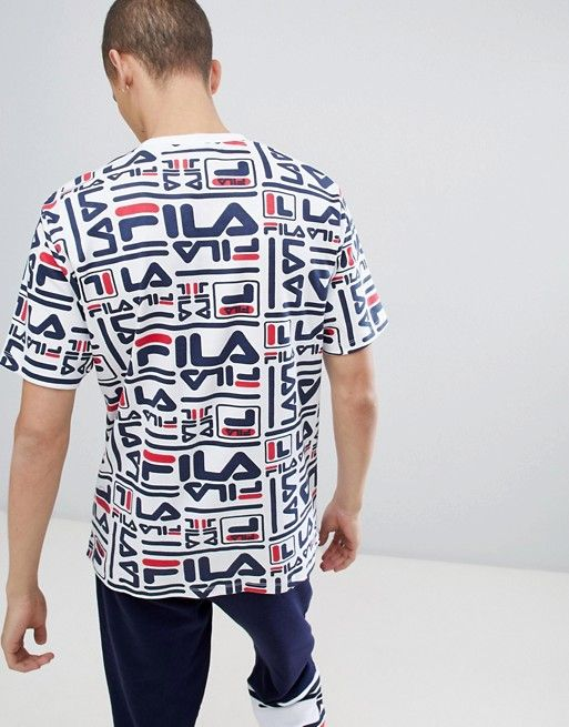 f75d2315f61b Fila Black Line Charlie T-Shirt With All Over Logo Print In White ...