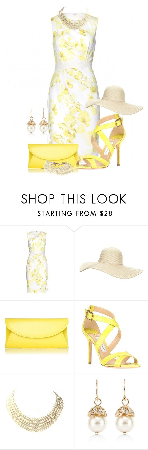 """""""Easter Yellow....Sunday Best Easter Contest"""" by natania-dydell ❤ liked on Polyvore featuring Giambattista Valli, Reger by Janet Reger, L.K.Bennett, Jimmy Choo, White House Black Market, J.Crew, women's clothing, women's fashion, women and female"""