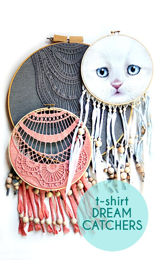Upcycled Dreamcatcher DIY - Embroidery hoop Dreamcatcher Craft - TShirt Dreamcatcher How-To | Small for Big