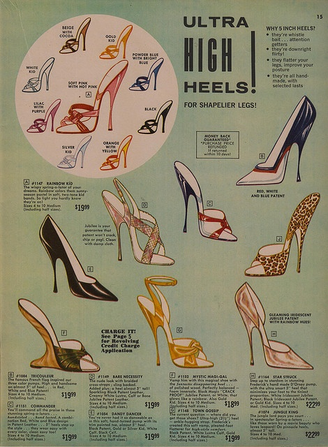 1964 Frederick's of Hollywood catalog......I  see  these  same  shoes  NOW...  fashion  history  repeating  itself  I  guess....ha ha ha