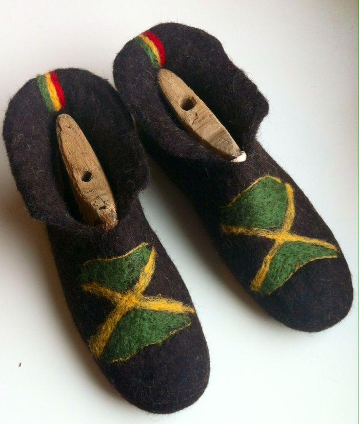 Handmade unisex felt slippers Jamaican style.