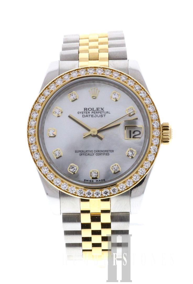 Stunning Rolex Date Just with genuine mother of pearl & diamond dial and grain set diamond bezel. Finance available (subject to status). http://www.humberstonesjewellers.co.uk/products/rolex-datejust-178383-18ct-gold-steel-mother-of-pearl-diamond-dial-diamond-bezel.html