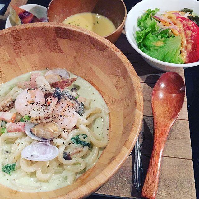 #うどん #バジル #ジェノベーゼ #シーフード #サラダ #ケーキ #カフェ #カフェ巡り #カフェ部 #スープ #コーン #とうもろこし #美味しい #おいしい #楽しい #ベーコン #肉 #デザート #スイーツ #パンケーキ #cafe #sarada #delicious #soup #ヘルシー #healthy #happy #happytime