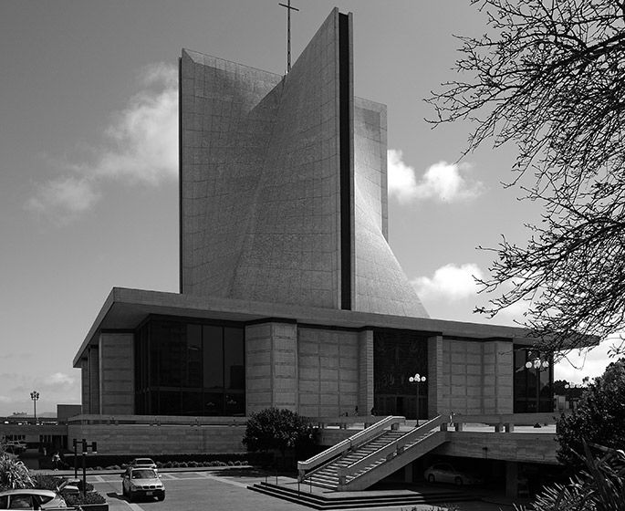 a+t - Pietro Belluschi and Pier-Luigi Nervi. St Mary's Cathedral. San Francisco, 1971
