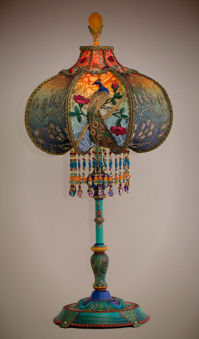 Beautiful And Unusual 1920s Era Table Lamp With Peacock