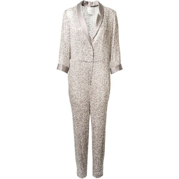 Erin Fetherston Tuxedo Inspired Silver Jumpsuit In Sequins ($1,160) ❤ liked on Polyvore featuring jumpsuits, erin fetherston, jump suit, sequin jump suit, shawl collar tuxedo and tuxedo suit