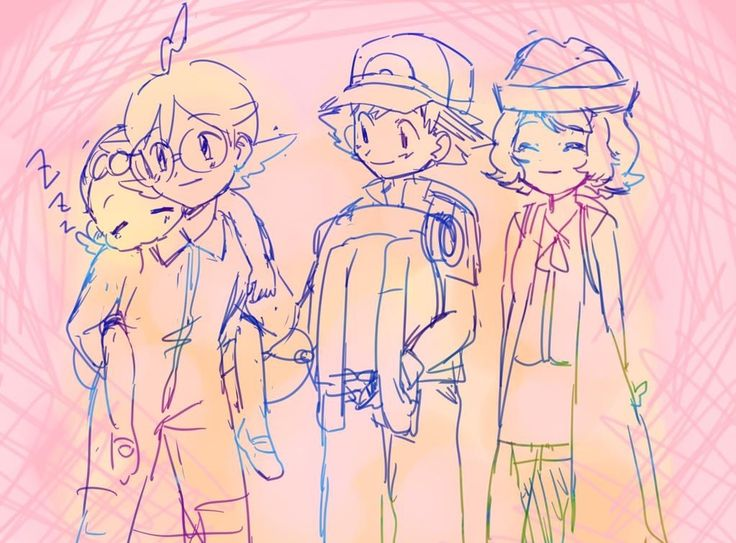 Beautiful ♡ Ash Ketchum with his Kalos friends ^.^ ♡