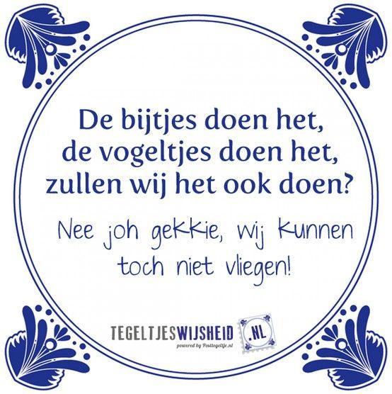 'De bijtjes doen het, de vogeltjes doen het, zullen wij het ook doen? Nee joh gekkie, wij kunnen toch niet vliegen!' Tegeltjeswijsheid, wijsheden, spreuk, spreuken, gezegdes, tegeltjeswijsheden , citaten en hollandse uitspraken http://www.tegeltjeswijsheid.nl voor je unieke & gepersonaliseerde tegeltje of spreukbord over iedere kwestie