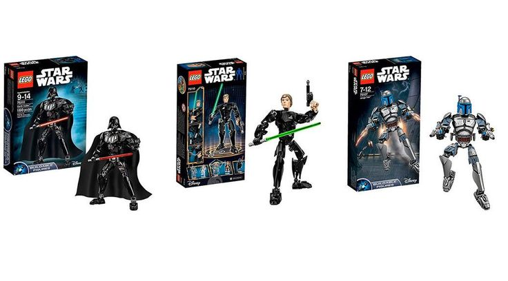 Figuras LEGO Star Wars: Darth Vader, Luke Skywalker y Jango Fett