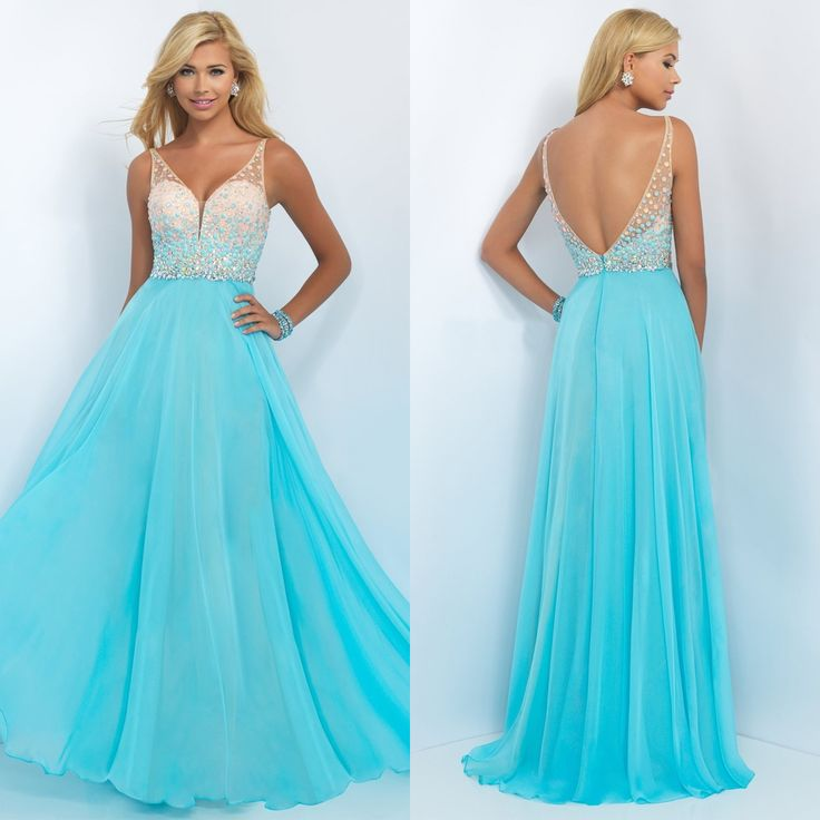 Beaded Sweetheart V-Neck Long Blush Prom Dress