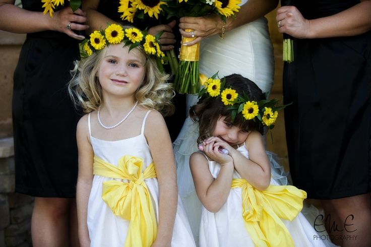 Sunflower Flower Girl Crown. Dunno if you are having a flower girl but with purple ribbon. Need to do this in memory of my mom <3
