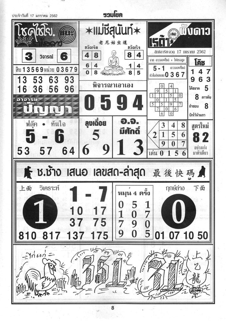 Thai Lottery First Paper 4Pc Magazine Paper 17/January/2019