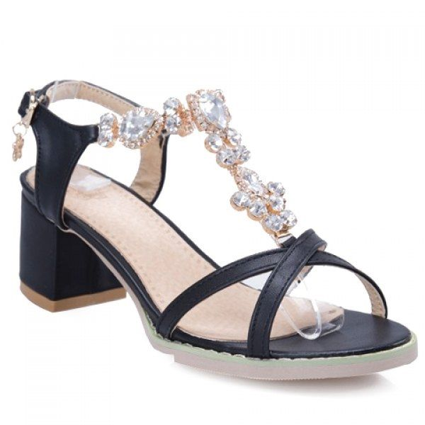 Ladylike Solid Colour and Rhinestones Design Sandals For Women
