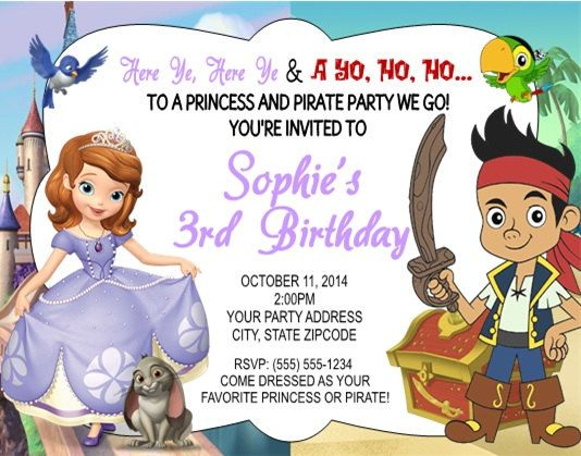 Personalized Sofia the First Princess and Jake and the Neverland Pirate Combined Children's Birthday Party Invitation.  Perfect for Twin Boys and Girls by DannisCuteCreations