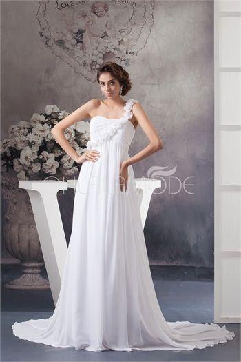 Robe de mariée pas cher empire A-ligne Une épaule en mousseline de soie ornée de fleurs