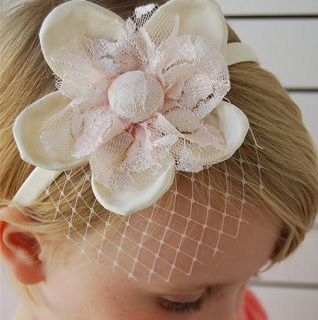 Silk Net Hair Clip - $19.95 - Handmade vintage inspired accessories for little girls, this gorgeous Silk Net Hair Clip adds the finishing touch to your little ones outfit and hair style.  Perfect for that very special occasion. #sweetcreations #baby #kids #girls #hair #accessories #headband #accessorise