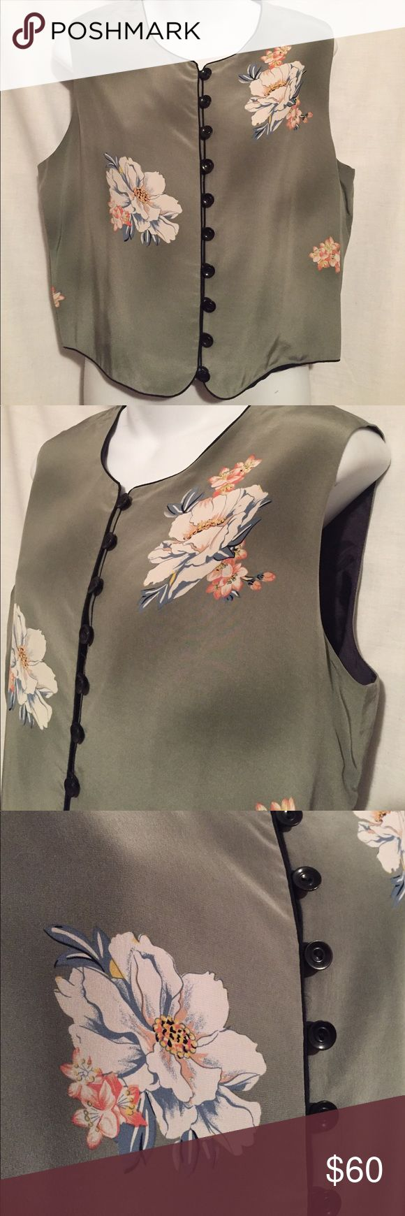 Peter Nygard silk floral vest Beautiful olive green silk with darker accents, inside lining is black. Size 10 Peter Nygard Jackets & Coats Vests