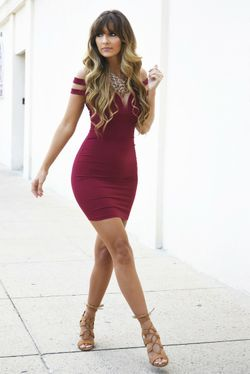 Share to save 10% on  your order instantly!  Strike A Pose Dress: Burgundy