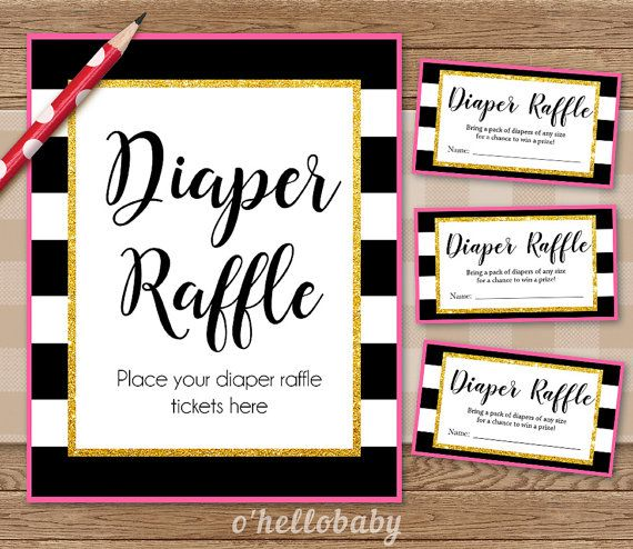 Diaper Raffle Baby Shower Game - Black White Stripes Pink Gold - Baby Boy Baby…