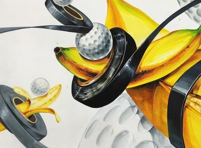 골프공 & 바나나(자연물) & 전기테잎ㅡ