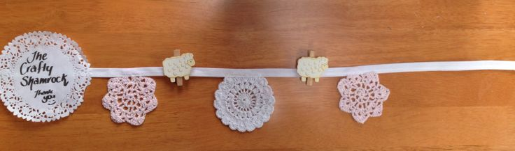 Shelf Decor, Doily and Sheep pegs, ideal for you dresser/shelf, email thecraftyshamrock@gmail.com
